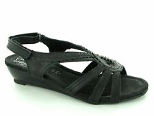 Gluv GENEVA Ladies Womens Ruched Frill Slingback Open Summer Comfy Sandals Black