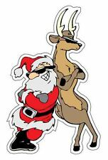 Joyful Santa Claus and Deer Magical Emblem Vinyl Sticker / Car Window Wall Decal