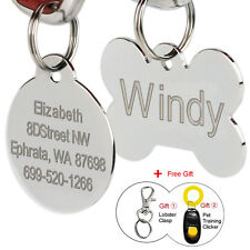 Stainless Steel Custom Dog Tags Engraved Cat Pet Tags Round Bone Shape Free Ring