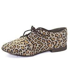 Breckelle Sandy-21 Animal Prints Laced Up Oxford Loafer Casual Flat Heel Shoes