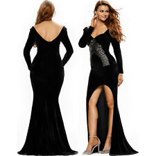 Lace Embroidery Accent High Split Black Velvet Dress Long Sleeve Stage Brief