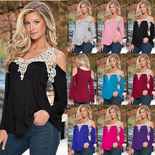 Women Casual Loose Blouse Long Sleeve Lace Shirt Summer Ladies Tee Tops Blouse k