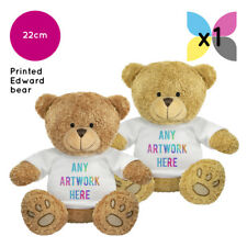 1 x PERSONALISED EDWARD SOFT TOY TEDDY BEAR  YOUR NAME PHOTO IMAGE TEXT PRINTED