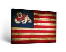Fresno State University Bulldogs Canvas Wall Art Vintage Flag Design