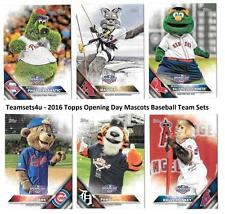 2016 Topps Opening Day Mascots Baseball Team Sets ** Pick Your Team Set **