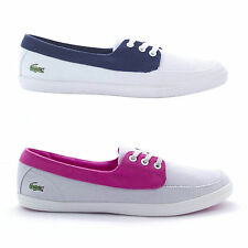 Lacoste Womens Ziane Boat SPW Laced Flat Trainers OrthoLite Navy White Pink Grey