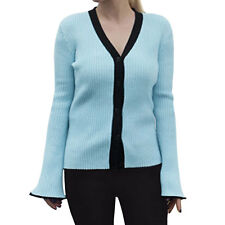 Women Deep V Neck Contrast Trim Single Breasted Sweater Cardigan