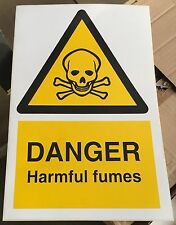 Warning Sign - DANGER Harmful fumes - 300 x 200mm Safety Signs