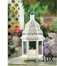 "10 WHITE MOROCCAN STYLE CANDLE LANTERNS - 12 1/4"" HIGH - IRON & GLASS - WHITE"