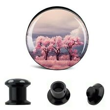 Pair Cherry Tree Acrylic Screw Ear Tunnels Plugs Expander Stretcher Earlets