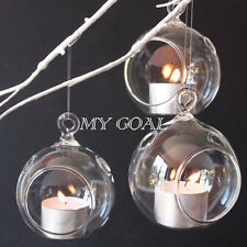 Clear Glass Hanging Bauble Tealight Candle Holder Home Wedding Party Decor Gift