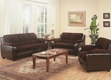 Modern Chocolate Brown Sofa, LoveSeat 2 Piece Living Room Furniture Couch Set