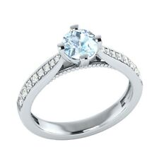 0.80 ct Natural Blue Aquamarine & Certified Diamond Solid Gold Engagement Ring