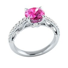 1.30 ct Natural Pink Sapphire & Certified Diamond Solid Gold Engagement Ring