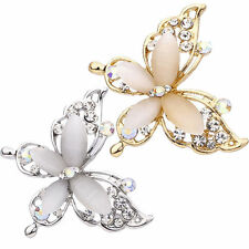 Women Butterfly Design Gold Silver Plated Crystal Rhinestone Brooch Pin Jewelry