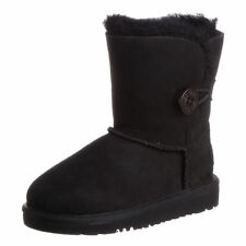 Kid's UGG Australia Bailey Button 5991 K Black Twin face Suede 100% Authentic