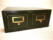 Vintage Library Card Catalog Globe-Wernicke Antique 2 drawer Card File Cabinet 1
