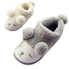 Cute Sheep Winter Warm Slippers Women Men Boy Girl Flat Shoes Home Mules Plush