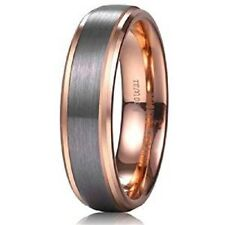 Unisex 6mm 18k Rose Gold Plated Tungsten Carbide Ring Two Tone Wedding Band Size