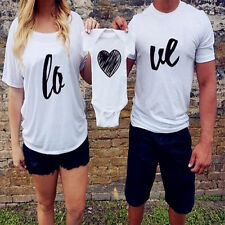 Xmas Family fitted Men Women Couple White Heart Cotton T-shirt lovers clothing