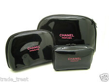 NEW GENUINE CHANEL BLACK PATENT MAKE UP/COSMETIC BAG