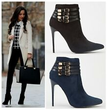 Women's Multi Buckle Stilettos Pointed Toe Ankle Boots High Heel Punk Shoes Size