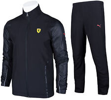 SALE PUMA FERRARI SCUDERIA BLACK MEN'S FULL ZIP TRACKSUIT TRACK JACKET PANTS XS