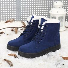 Winter Womens Suede Ankle Boots Faux Fur warm plush Snow Boots Casual Lace up