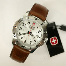 NEW $195 GENTS WENGER 43MM SILVER DIAL 100MWR SWISS MILITARY ESCORT WATCH #79274