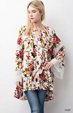 NWT Jodifl Anthropologie Ivory Wine Floral Lace Bell Sleeve Blouse Tunic S-M-L
