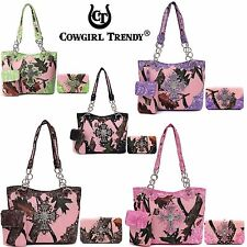 Cowgirl Trendy Concealed Carry Western Country Purse Cross Camouflage Wallet Set