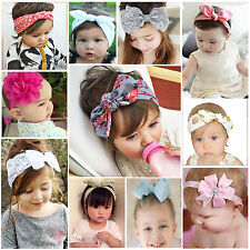 Baby Girls Lace Flower Rabbit Bow Headband Hairband Headwrap Toddler Turban Knot
