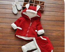 2PCS Infant Newborn baby Girl Warm Hooded Coat +pants Kids Winter Clothes Set
