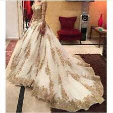 V-neck Long Sleeve Evening Dresses Gold Applique Sequins Sweep Train Prom Gowns