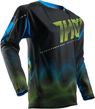 NEW 2017 THOR RACING LIT BLACK GREEN BLUE MX ATV MOTOCROSS MENS ADULT JERSEY
