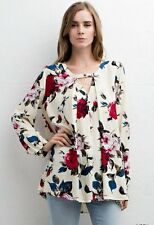 NWT Jodifl Anthropologie Ivory Red & Blue Rose Floral Blouse SZ S-M-L