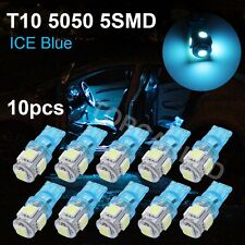 10PCS T10 Ice Blue 5050 5SMD W5W Backup LED Interior Car Light bulb 192 1250 12V
