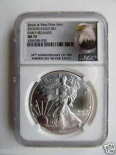 2016 (W) Silver Eagle NGC MS70 Early Releases 30th Anniversary Bald Eagle Label