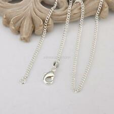 Girls Womens 925 Silver Wholesale lots Plated 2MM Curb Pendant Necklace 16-24