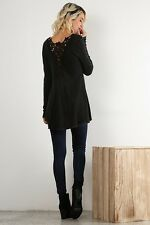 Enchanted Forest Long Sleeve Crochet lace Trim Tunic Top (Black)