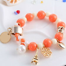 Vogue Bangle Beaded Bracelet Elastic Charm Rose Flower Imitation Pearl Bracelet