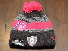 NEW ERA OAKLAND RAIDERS AUTHENTIC PINK GRAY KNIT BEANIE CAP BREAST CANCER BCA