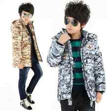 Boys Kids Puffa Camo Jacket Padded Coat Hood Winter Military Coat Back to School