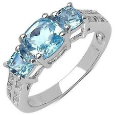 1.98 CTW Blue Topaz and White Topaz Gemstone Ring in Sterling Silver