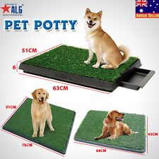 Portable Indoor Dog Pet Potty Training Pad Toilet Loo Clean Pad Tray w Grass Mat
