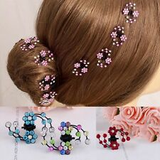 6Pcs Girls Crystal Flower Hair Claws Clips Hair Pins Headwear Hair Accessories