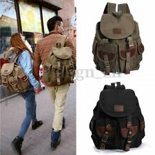 Vintage Men Canvas Leather Backpack Hiking Travel Military Rucksack School bag