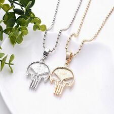 Gothic Long Gold Silver Plated Punk Chain Skull Pendant Necklace