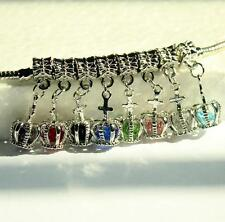 1PCs Multicolor Fit Crown Crystal Female Bracelet Fashion Dangle Beads Charm