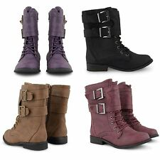 NEW GIRLS JUNIOR ARMY COMBAT LACE UP BIKER STYLE MILITARY WORKER ANKLE BOOTS UK